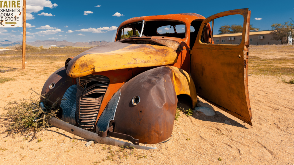 Rusty vintage vehicle in the desert